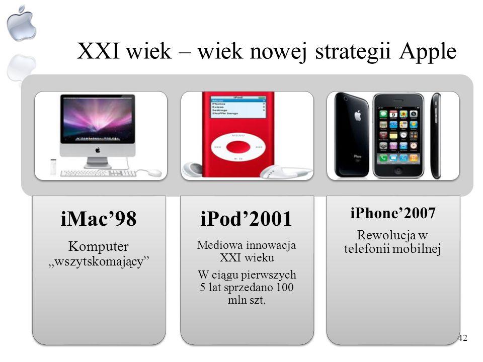 W kierunku Millenium W 1998 Apple wprowadza na rynek iMaca – komputer XXI wieku iMac okazał się być najlepszym i najbardziej oryginalnym produktem App