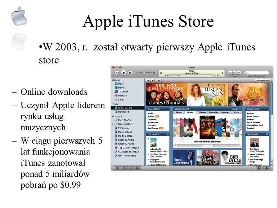 XXI wiek – wiek nowej strategii Apple iMac98 Komputer wszytskomający iPod2001 Mediowa innowacja XXI wieku W ciągu pierwszych 5 lat sprzedano 100 mln s