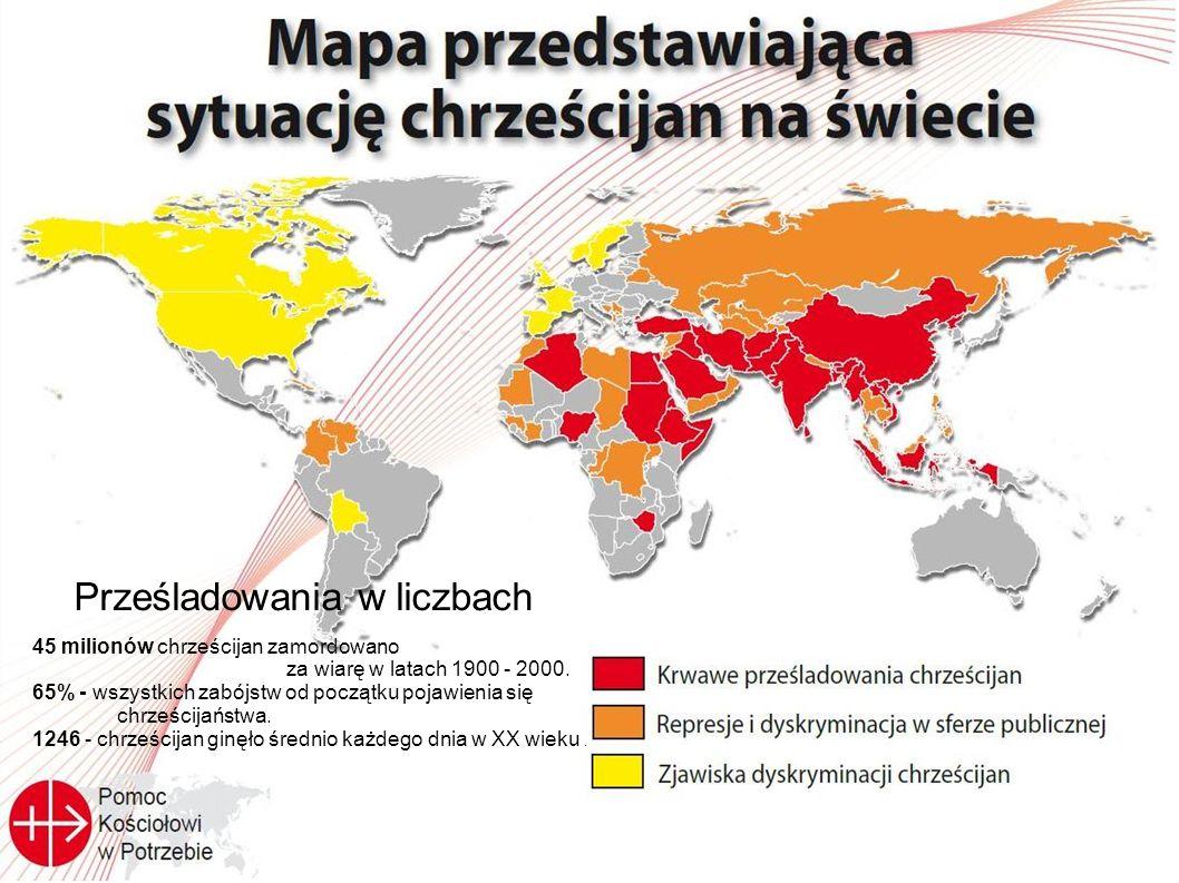 Prześladowania w liczbach 45 milionów chrześcijan zamordowano za wiarę w latach 1900 - 2000. 65% - wszystkich zabójstw od początku pojawienia się chrz