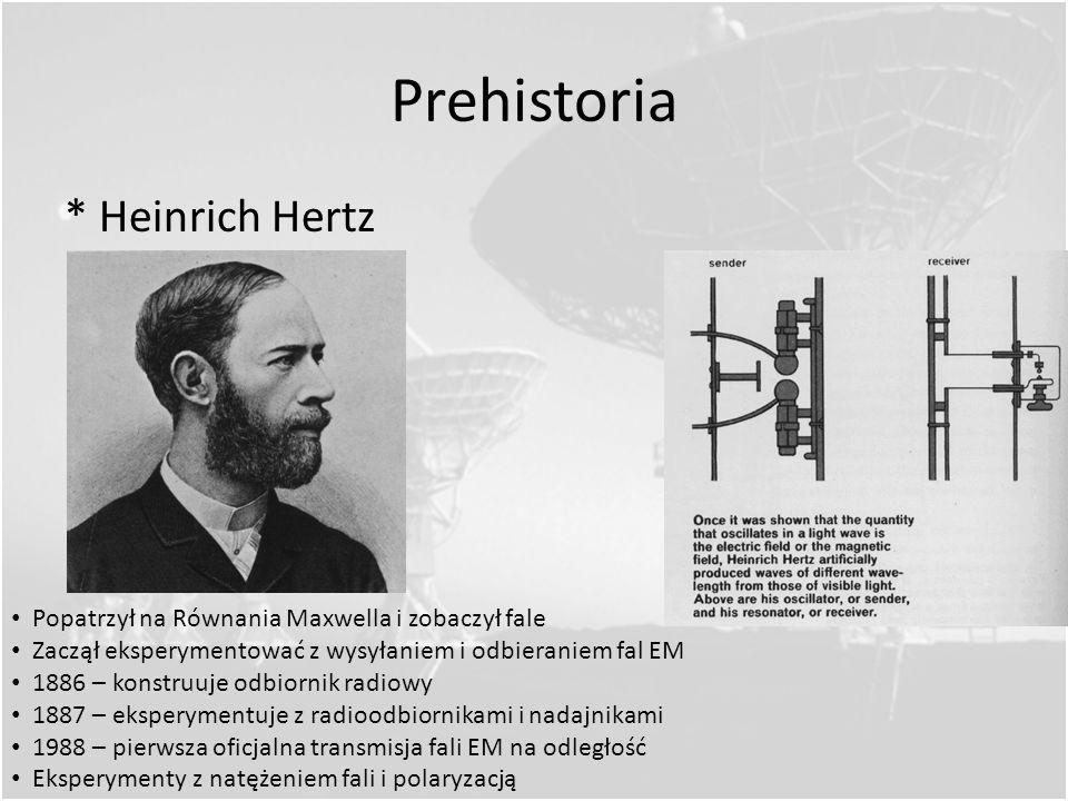 Prehistoria * James Clerk Maxwell Wyprowadzał najważniejsze równania; 1860 – 1870 r. Światło widzialne falą EM Ale fala EM to nie tylko światło widzia