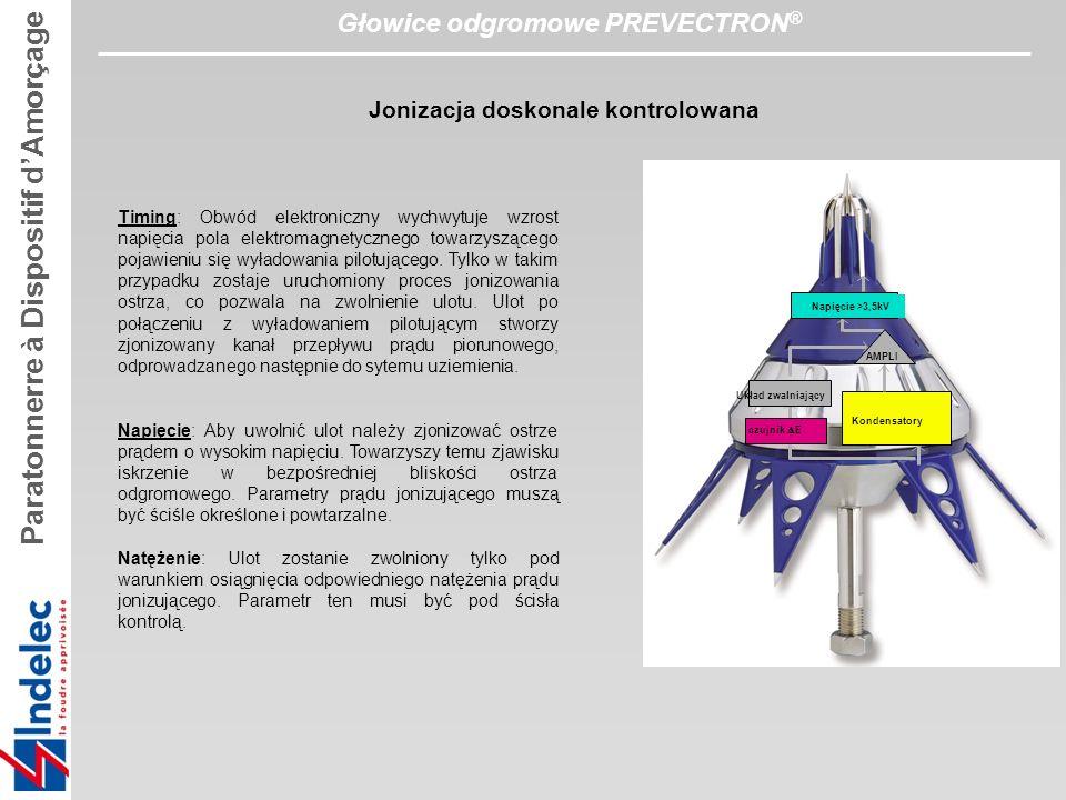 Głowice odgromowe PREVECTRON ® Timing: Obwód elektroniczny wychwytuje wzrost napięcia pola elektromagnetycznego towarzyszącego pojawieniu się wyładowania pilotującego.