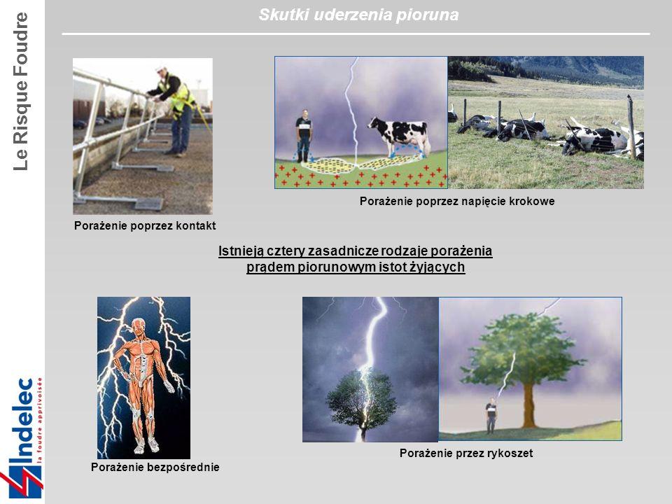 Porażenie bezpośrednie Porażenie przez rykoszet Porażenie poprzez napięcie krokowe Istnieją cztery zasadnicze rodzaje porażenia prądem piorunowym istot żyjących Porażenie poprzez kontakt Le Risque Foudre Skutki uderzenia pioruna