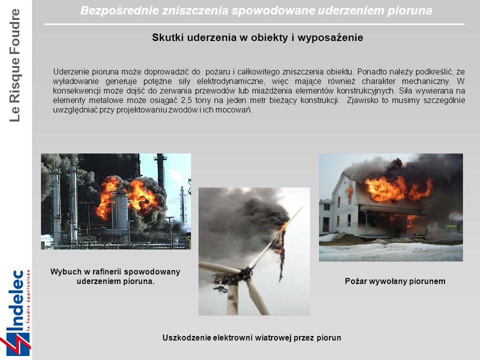 Uszkodzenie elektrowni wiatrowej przez piorun Pożar wywołany piorunem Wybuch w rafinerii spowodowany uderzeniem pioruna.
