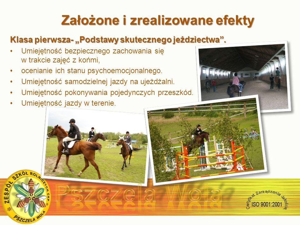 Założone i zrealizowane efekty Założone i zrealizowane efekty Klasa pierwsza- Podstawy skutecznego jeździectwa.