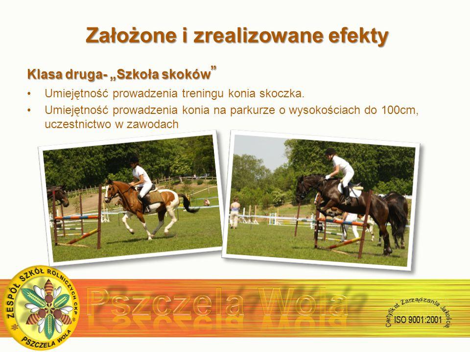 Założone i zrealizowane efekty Założone i zrealizowane efekty Klasa druga- Szkoła skoków Klasa druga- Szkoła skoków Umiejętność prowadzenia treningu konia skoczka.