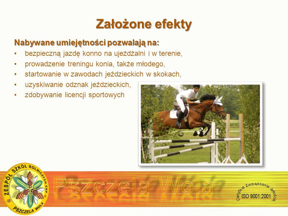 Założone efekty Założone efekty Nabywane umiejętności pozwalają na: bezpieczną jazdę konno na ujeżdżalni i w terenie, prowadzenie treningu konia, także młodego, startowanie w zawodach jeździeckich w skokach, uzyskiwanie odznak jeździeckich, zdobywanie licencji sportowych