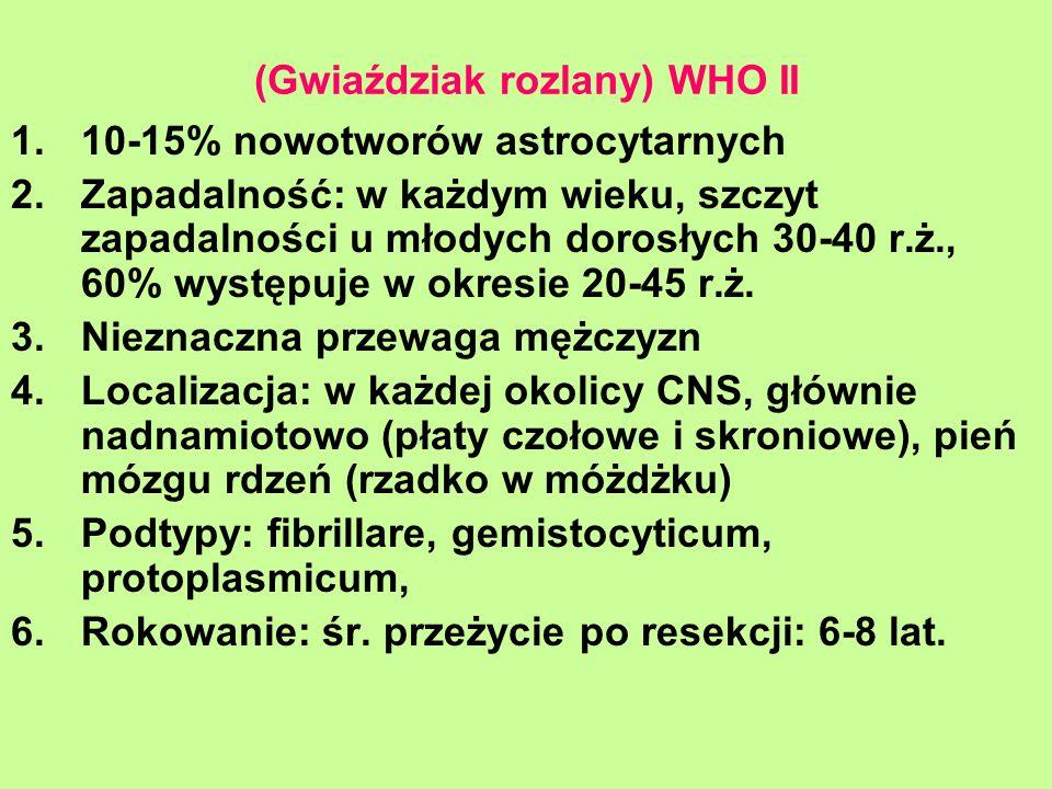 (Gwiaździak rozlany) WHO II 1.10-15% nowotworów astrocytarnych 2.Zapadalność: w każdym wieku, szczyt zapadalności u młodych dorosłych 30-40 r.ż., 60%