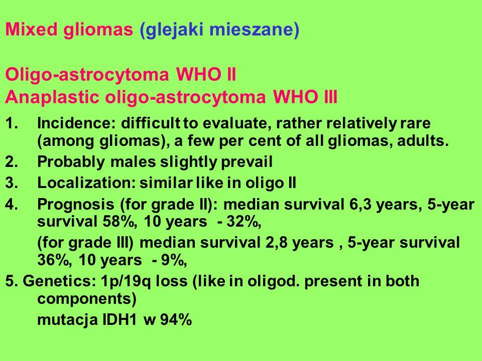 Mixed gliomas (glejaki mieszane) Oligo-astrocytoma WHO II Anaplastic oligo-astrocytoma WHO III 1.Incidence: difficult to evaluate, rather relatively r