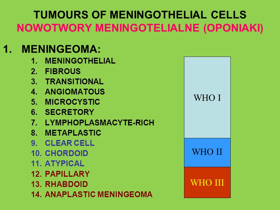 TUMOURS OF MENINGOTHELIAL CELLS NOWOTWORY MENINGOTELIALNE (OPONIAKI) 1.MENINGEOMA: 1.MENINGOTHELIAL 2.FIBROUS 3.TRANSITIONAL 4.ANGIOMATOUS 5.MICROCYST