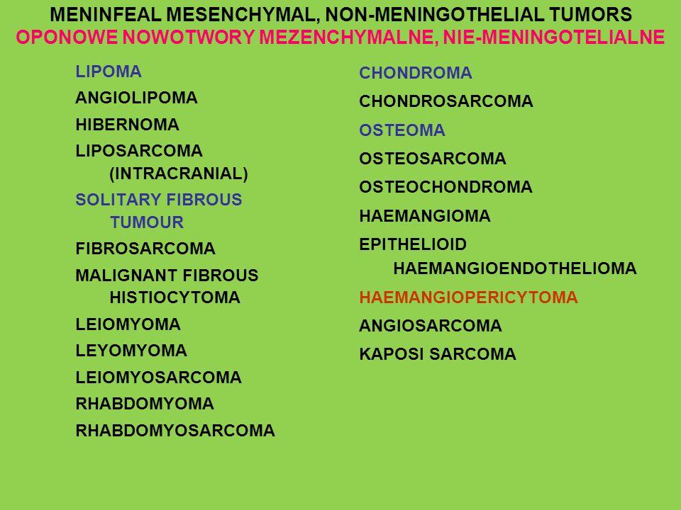 MENINFEAL MESENCHYMAL, NON-MENINGOTHELIAL TUMORS OPONOWE NOWOTWORY MEZENCHYMALNE, NIE-MENINGOTELIALNE LIPOMA ANGIOLIPOMA HIBERNOMA LIPOSARCOMA (INTRAC