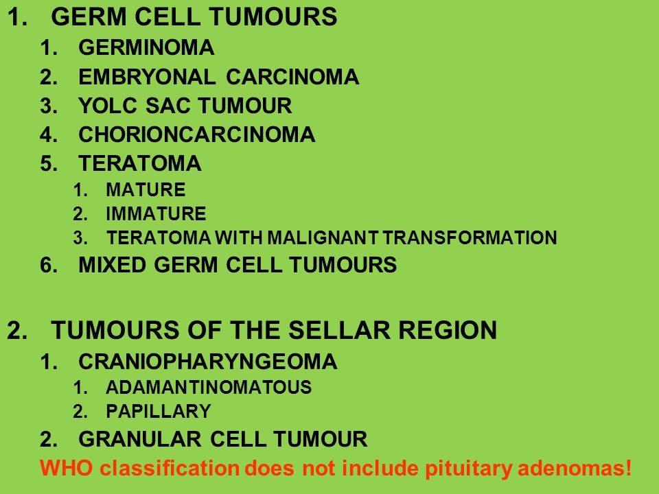 1.GERM CELL TUMOURS 1.GERMINOMA 2.EMBRYONAL CARCINOMA 3.YOLC SAC TUMOUR 4.CHORIONCARCINOMA 5.TERATOMA 1.MATURE 2.IMMATURE 3.TERATOMA WITH MALIGNANT TR