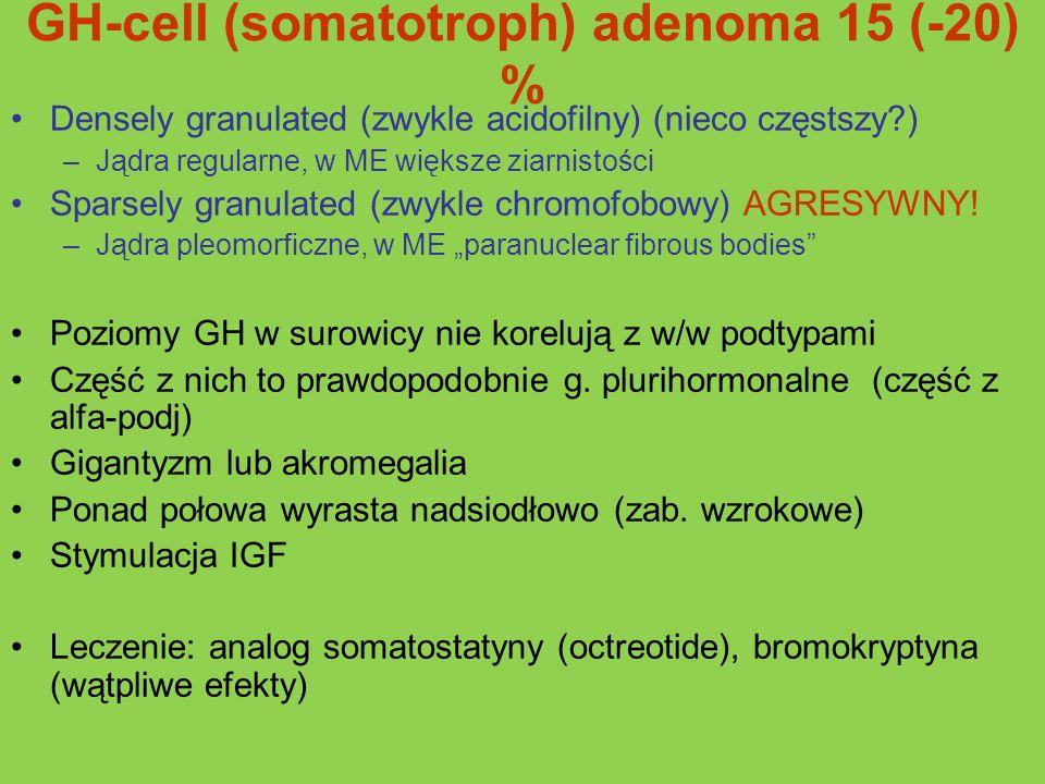 GH-cell (somatotroph) adenoma 15 (-20) % Densely granulated (zwykle acidofilny) (nieco częstszy?) –Jądra regularne, w ME większe ziarnistości Sparsely
