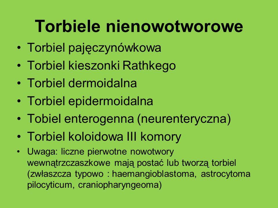 Torbiele nienowotworowe Torbiel pajęczynówkowa Torbiel kieszonki Rathkego Torbiel dermoidalna Torbiel epidermoidalna Tobiel enterogenna (neurenteryczn