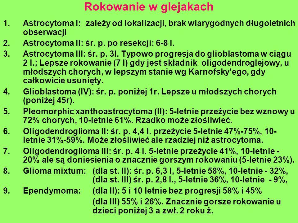 Rokowanie w glejakach 1.Astrocytoma I: zależy od lokalizacji, brak wiarygodnych długoletnich obserwacji 2.Astrocytoma II: śr. p. po resekcji: 6-8 l. 3