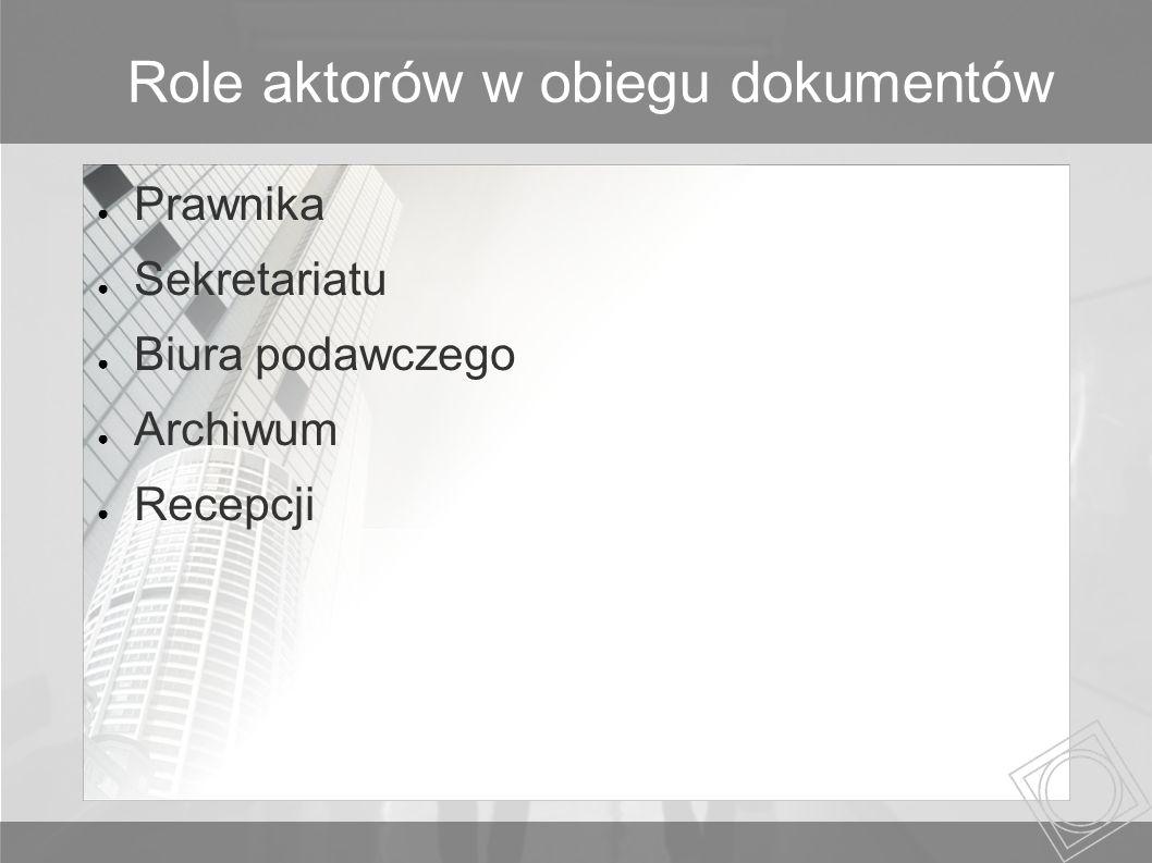 Role aktorów w obiegu dokumentów Prawnika Sekretariatu Biura podawczego Archiwum Recepcji