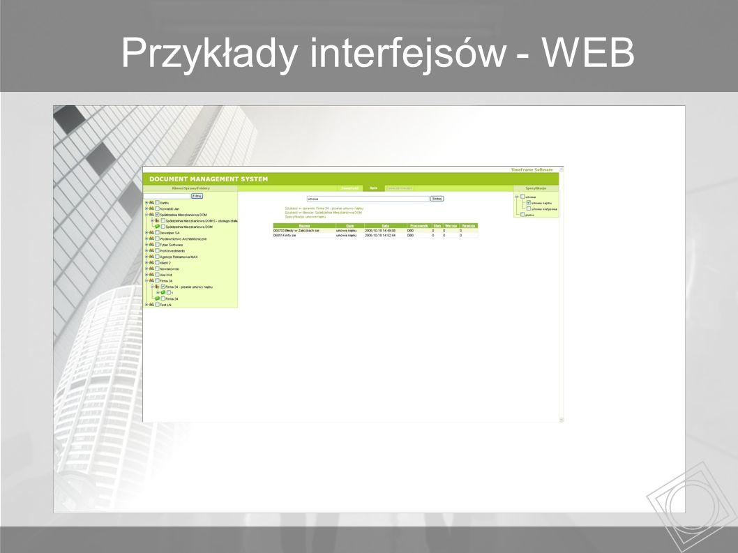 Przykłady interfejsów - WEB