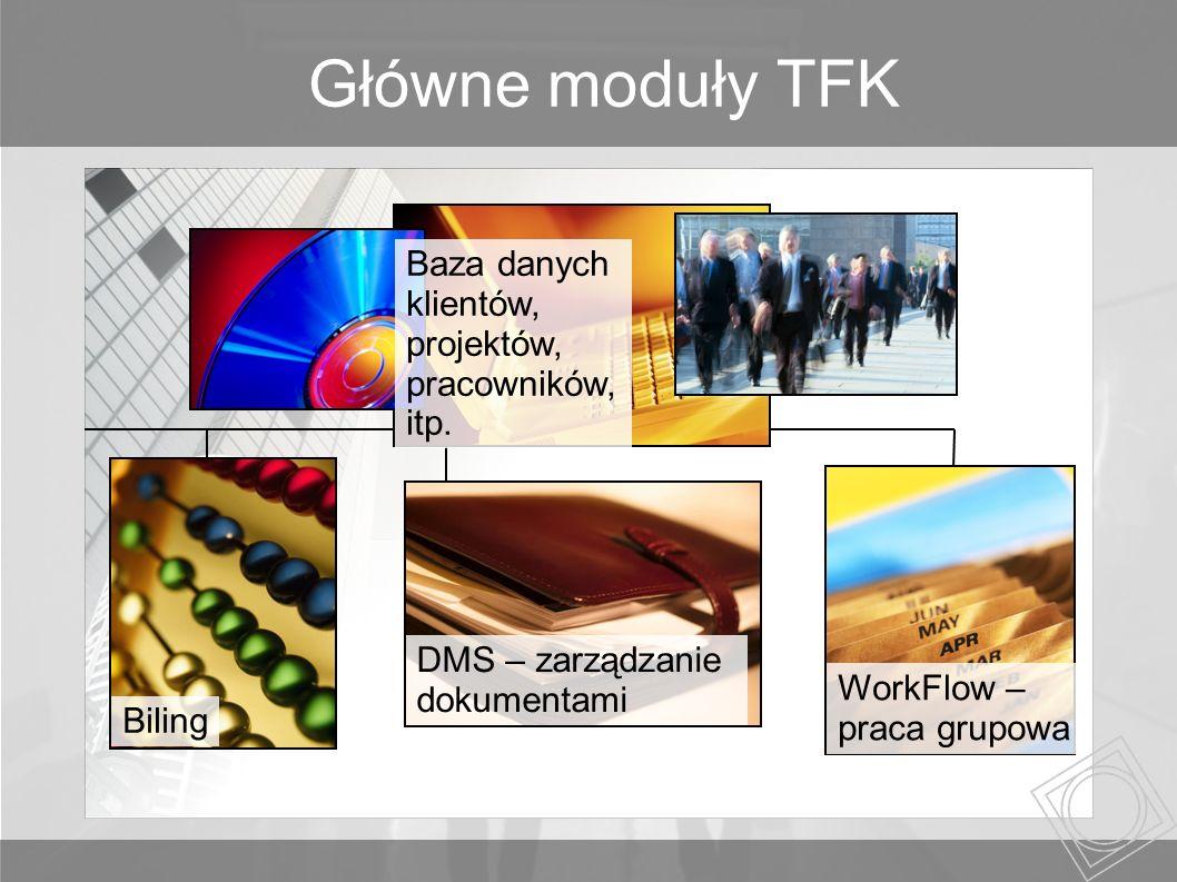 Główne moduły TFK Biling WorkFlow – praca grupowa DMS – zarządzanie dokumentami Baza danych klientów, projektów, pracowników, itp.
