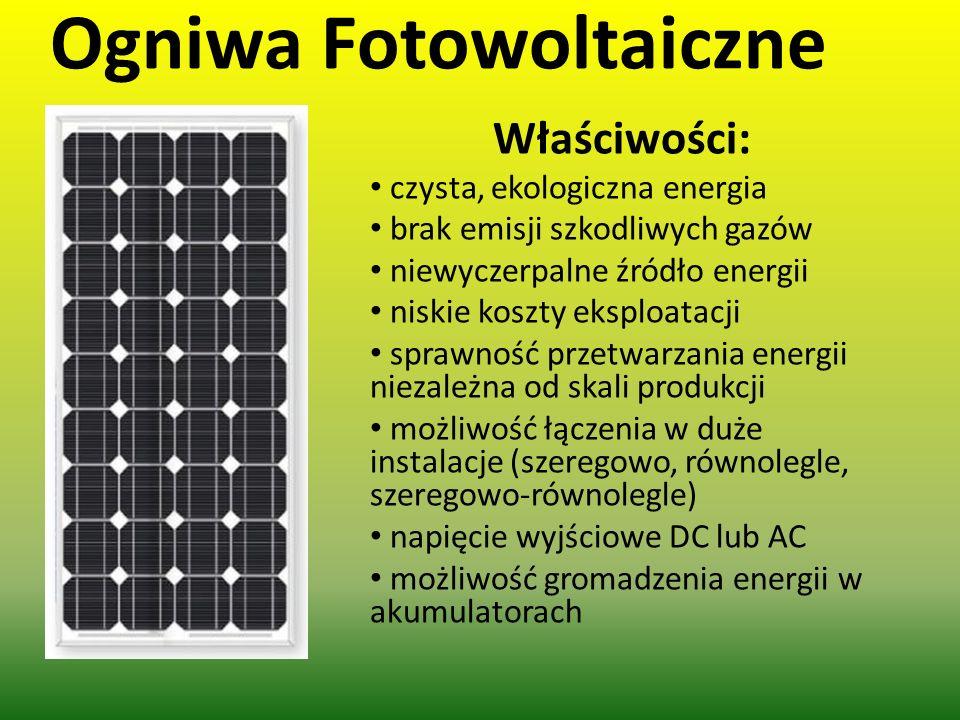 Ogniwa Fotowoltaiczne Właściwości : czysta, ekologiczna energia brak emisji szkodliwych gazów niewyczerpalne źródło energii niskie koszty eksploatacji