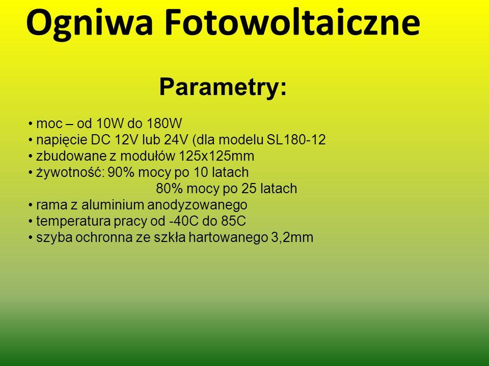 Ogniwa Fotowoltaiczne Parametry: moc – od 10W do 180W napięcie DC 12V lub 24V (dla modelu SL180-12 zbudowane z modułów 125x125mm żywotność: 90% mocy p