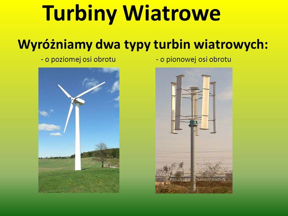Turbiny Wiatrowe Wyróżniamy dwa typy turbin wiatrowych: - o poziomej osi obrotu- o pionowej osi obrotu