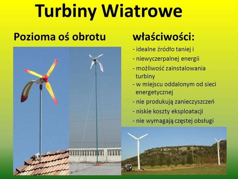 Turbiny Wiatrowe Pozioma oś obrotu właściwości: - idealne źródło taniej i - niewyczerpalnej energii - możliwość zainstalowania turbiny - w miejscu odd