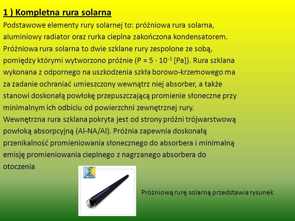 1 ) Kompletna rura solarna Podstawowe elementy rury solarnej to: próżniowa rura solarna, aluminiowy radiator oraz rurka cieplna zakończona kondensator