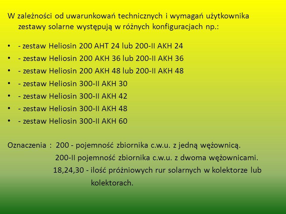 W zależności od uwarunkowań technicznych i wymagań użytkownika zestawy solarne występują w różnych konfiguracjach np.: - zestaw Heliosin 200 AHT 24 lu