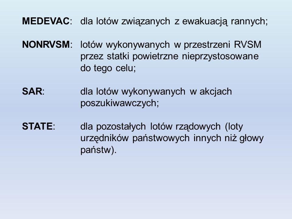 MEDEVAC: dla lotów związanych z ewakuacją rannych; NONRVSM: lotów wykonywanych w przestrzeni RVSM przez statki powietrzne nieprzystosowane do tego celu; SAR: dla lotów wykonywanych w akcjach poszukiwawczych; STATE: dla pozostałych lotów rządowych (loty urzędników państwowych innych niż głowy państw).