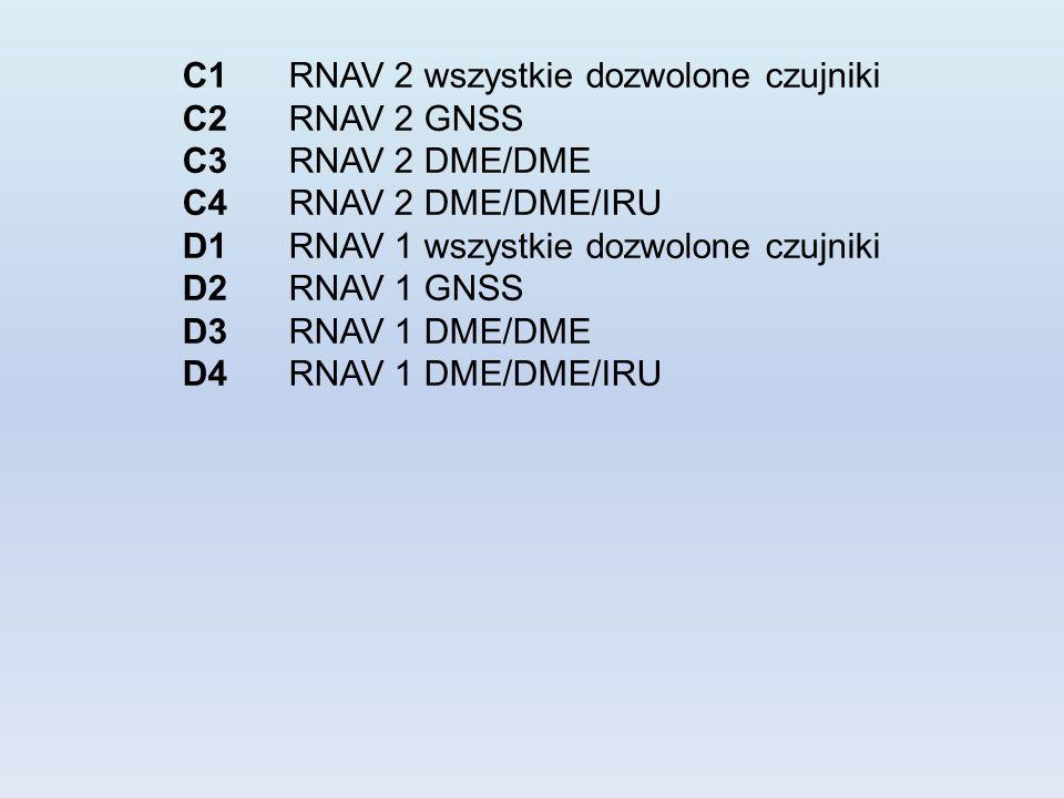 C1 RNAV 2 wszystkie dozwolone czujniki C2 RNAV 2 GNSS C3 RNAV 2 DME/DME C4 RNAV 2 DME/DME/IRU D1 RNAV 1 wszystkie dozwolone czujniki D2 RNAV 1 GNSS D3 RNAV 1 DME/DME D4 RNAV 1 DME/DME/IRU