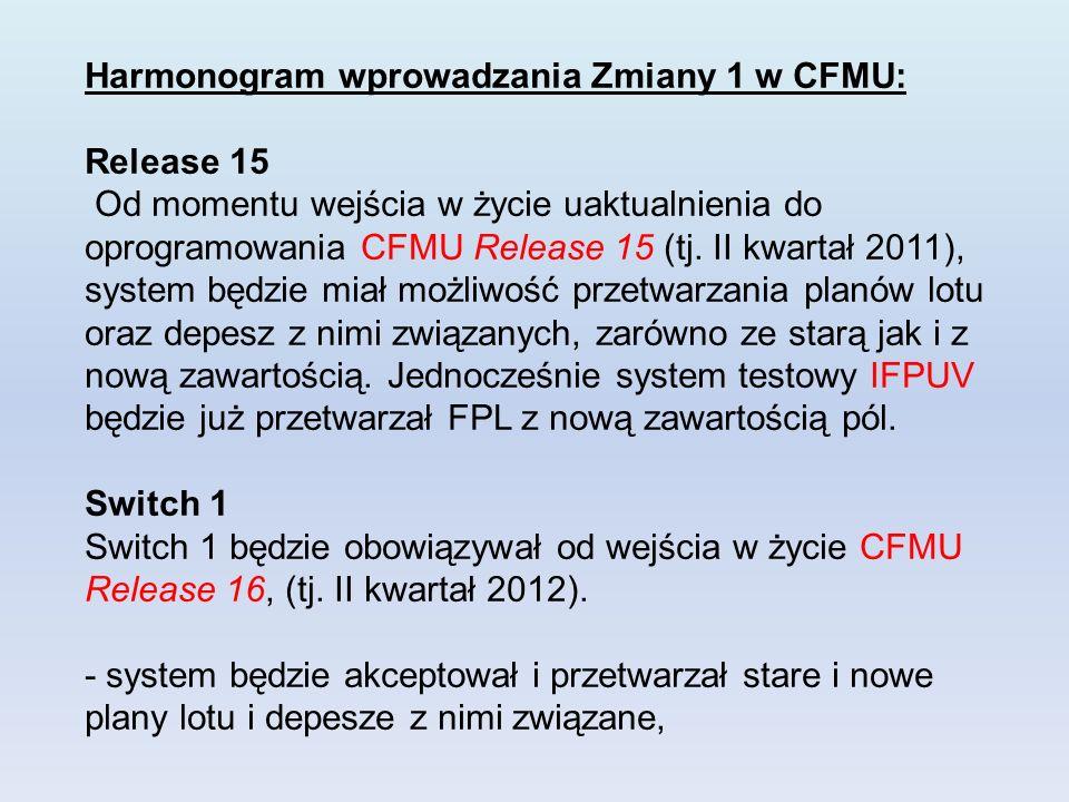 Harmonogram wprowadzania Zmiany 1 w CFMU: Release 15 Od momentu wejścia w życie uaktualnienia do oprogramowania CFMU Release 15 (tj.