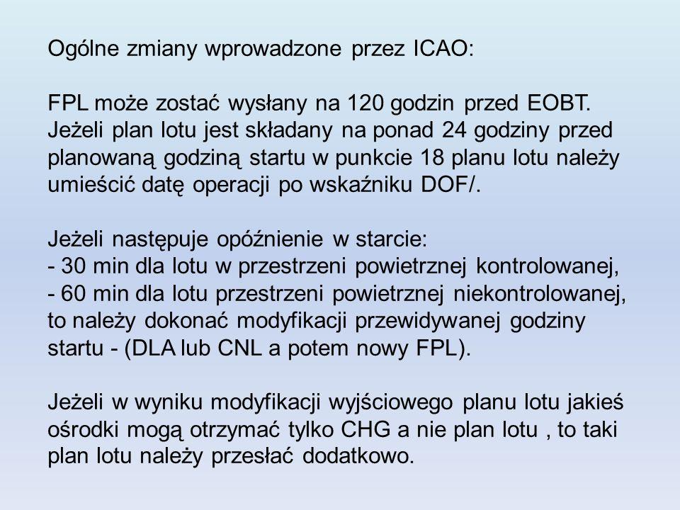 Ogólne zmiany wprowadzone przez ICAO: FPL może zostać wysłany na 120 godzin przed EOBT. Jeżeli plan lotu jest składany na ponad 24 godziny przed plano