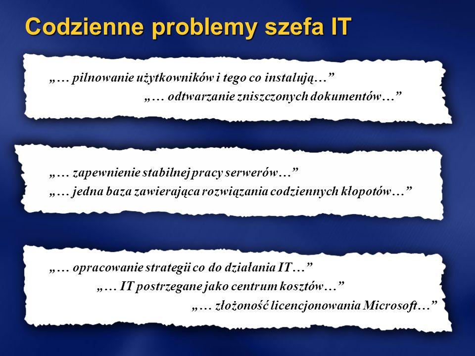 Codzienne problemy szefa IT … pilnowanie użytkowników i tego co instalują… … odtwarzanie zniszczonych dokumentów… … zapewnienie stabilnej pracy serwerów… … jedna baza zawierająca rozwiązania codziennych kłopotów… … opracowanie strategii co do działania IT… … IT postrzegane jako centrum kosztów… … złożoność licencjonowania Microsoft…