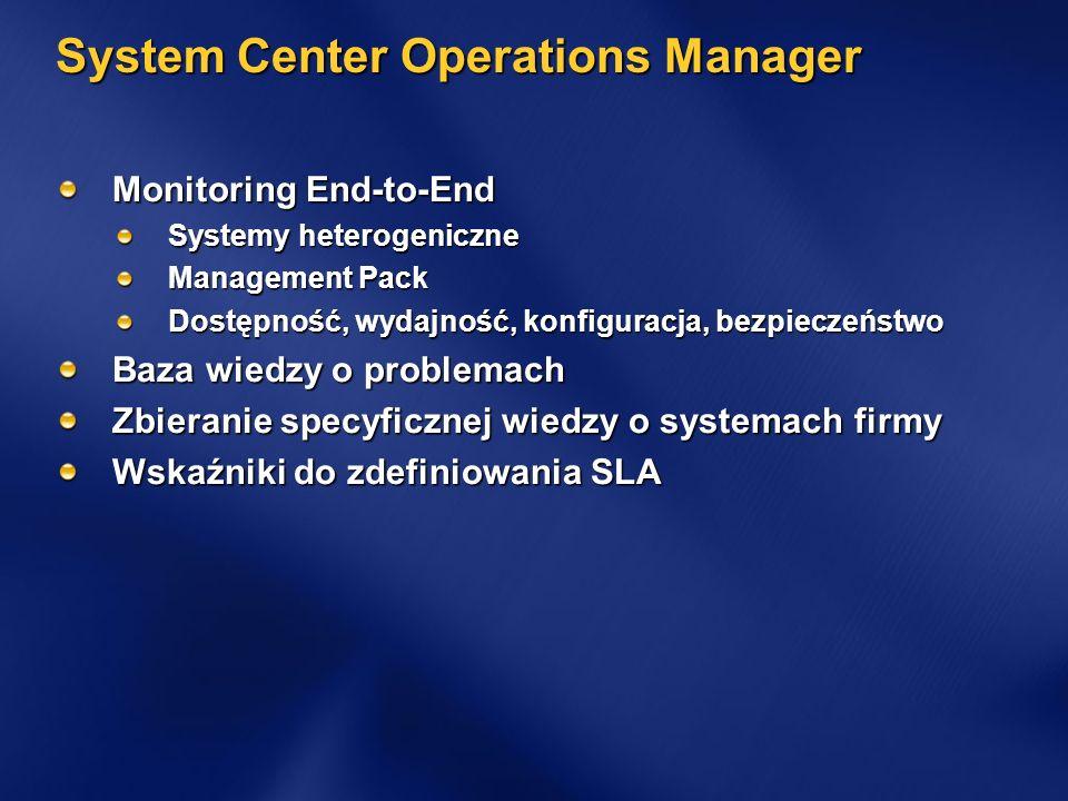 System Center Operations Manager Monitoring End-to-End Systemy heterogeniczne Management Pack Dostępność, wydajność, konfiguracja, bezpieczeństwo Baza wiedzy o problemach Zbieranie specyficznej wiedzy o systemach firmy Wskaźniki do zdefiniowania SLA