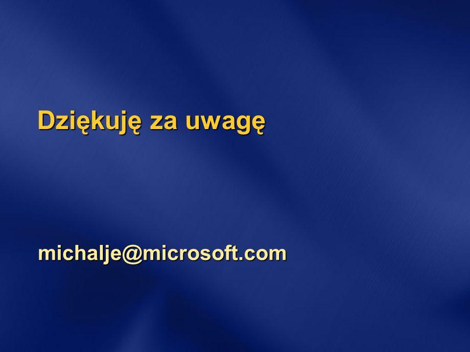 Dziękuję za uwagę michalje@microsoft.com