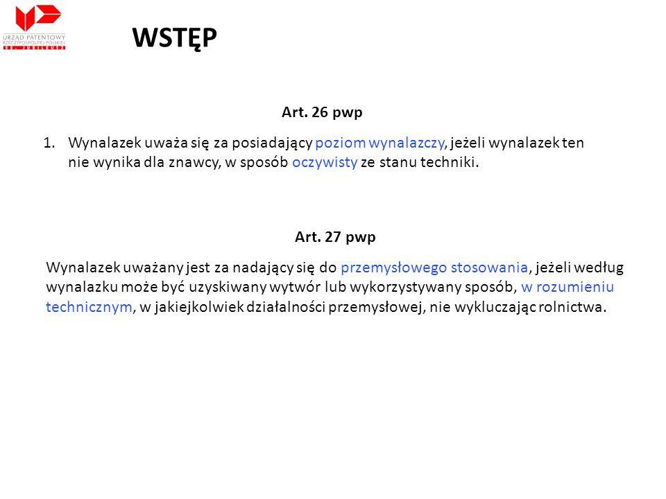 WSTĘP Art.28 pwp Za wynalazki, w rozumieniu art.