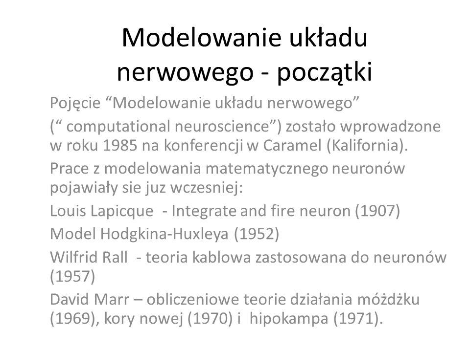 Modelowanie układu nerwowego - początki Pojęcie Modelowanie układu nerwowego ( computational neuroscience) zostało wprowadzone w roku 1985 na konferen
