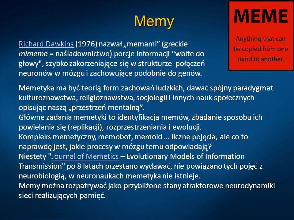Memy Richard DawkinsRichard Dawkins (1976) nazwał memami (greckie mimeme = naśladownictwo) porcje informacji wbite do głowy , szybko zakorzeniające się w strukturze połączeń neuronów w mózgu i zachowujące podobnie do genów.