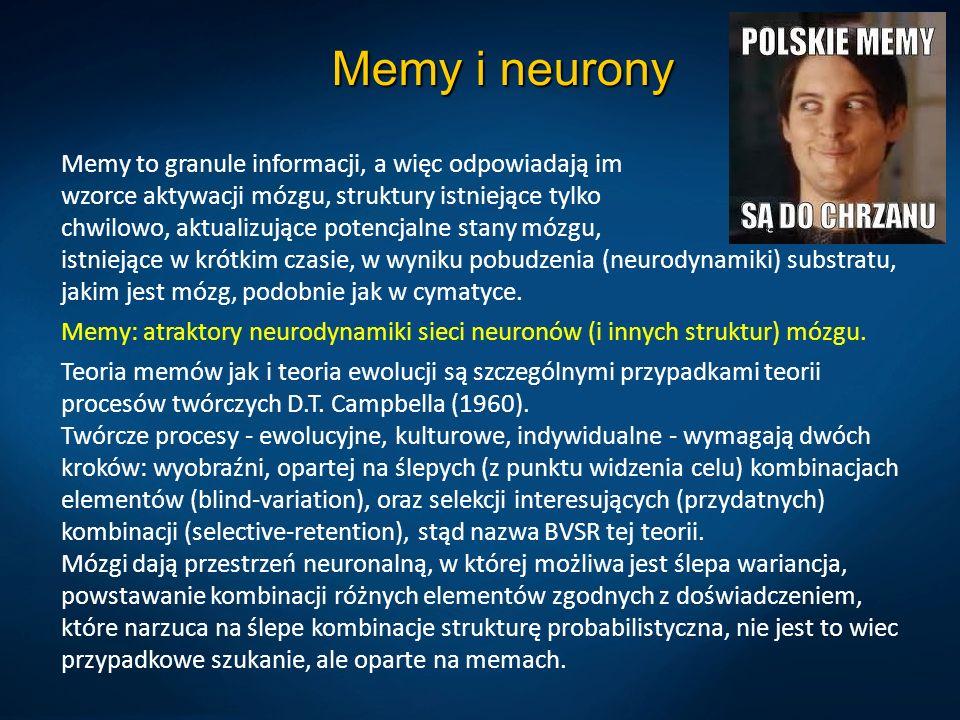 Memy i neurony Memy to granule informacji, a więc odpowiadają im wzorce aktywacji mózgu, struktury istniejące tylko chwilowo, aktualizujące potencjalne stany mózgu, istniejące w krótkim czasie, w wyniku pobudzenia (neurodynamiki) substratu, jakim jest mózg, podobnie jak w cymatyce.