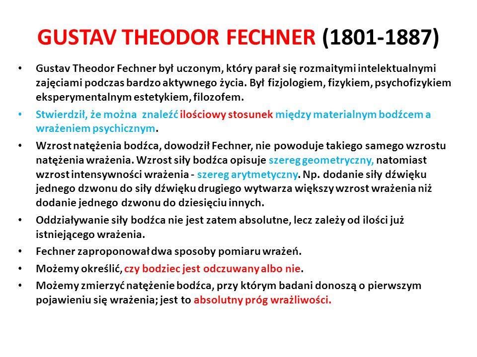 GUSTAV THEODOR FECHNER (1801-1887) Gustav Theodor Fechner był uczonym, który parał się rozmaitymi intelektualnymi zajęciami podczas bardzo aktywnego życia.