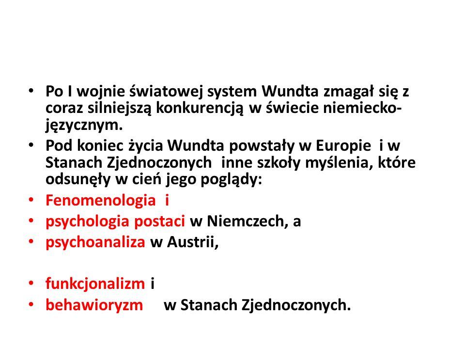 Po I wojnie światowej system Wundta zmagał się z coraz silniejszą konkurencją w świecie niemiecko- języcznym.
