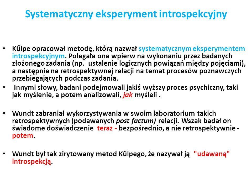 Systematyczny eksperyment introspekcyjny Kűlpe opracował metodę, którą nazwał systematycznym eksperymentem introspekcyjnym.