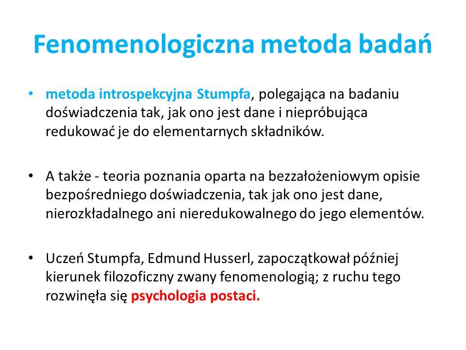 Fenomenologiczna metoda badań metoda introspekcyjna Stumpfa, polegająca na badaniu doświadczenia tak, jak ono jest dane i niepróbująca redukować je do elementarnych składników.