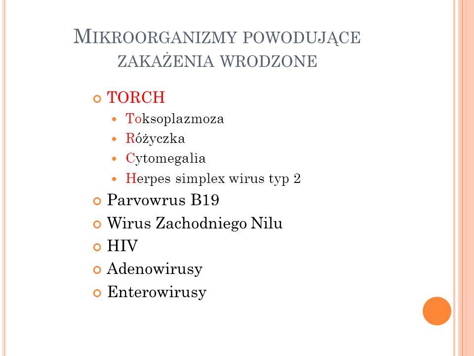M IKROORGANIZMY POWODUJĄCE ZAKAŻENIA WRODZONE TORCH Toksoplazmoza Różyczka Cytomegalia Herpes simplex wirus typ 2 Parvowrus B19 Wirus Zachodniego Nilu