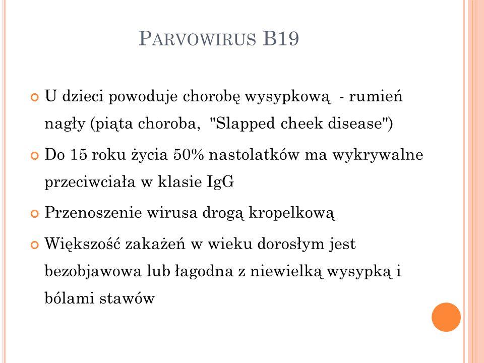P ARVOWIRUS B19 U dzieci powoduje chorobę wysypkową - rumień nagły (piąta choroba,
