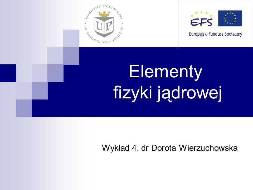 Elementy fizyki jądrowej Wykład 4. dr Dorota Wierzuchowska
