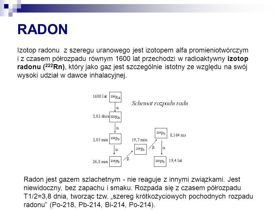 RADON Izotop radonu z szeregu uranowego jest izotopem alfa promieniotwórczym i z czasem półrozpadu równym 1600 lat przechodzi w radioaktywny izotop radonu ( 222 Rn), który jako gaz jest szczególnie istotny ze względu na swój wysoki udział w dawce inhalacyjnej.