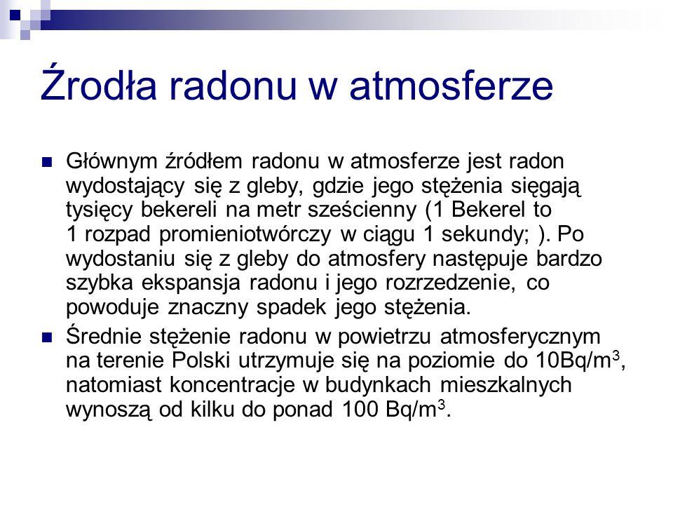 Źrodła radonu w atmosferze Głównym źródłem radonu w atmosferze jest radon wydostający się z gleby, gdzie jego stężenia sięgają tysięcy bekereli na metr sześcienny (1 Bekerel to 1 rozpad promieniotwórczy w ciągu 1 sekundy; ).