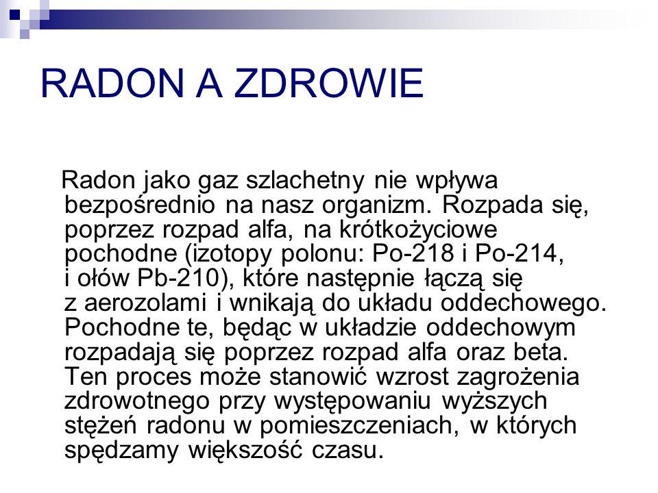 RADON A ZDROWIE Radon jako gaz szlachetny nie wpływa bezpośrednio na nasz organizm.