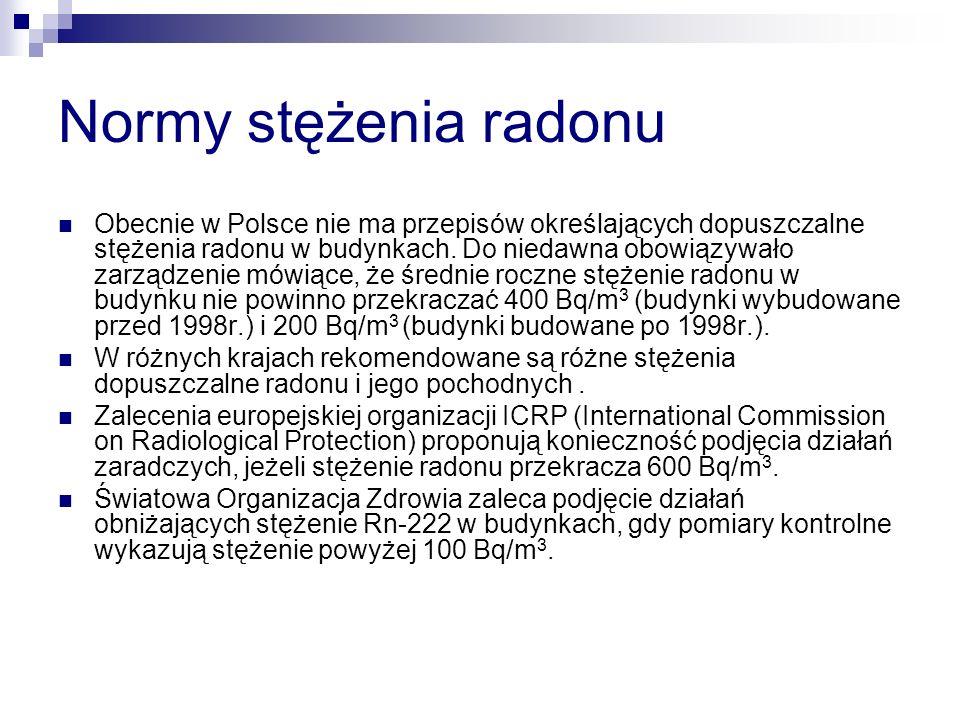 Normy stężenia radonu Obecnie w Polsce nie ma przepisów określających dopuszczalne stężenia radonu w budynkach. Do niedawna obowiązywało zarządzenie m