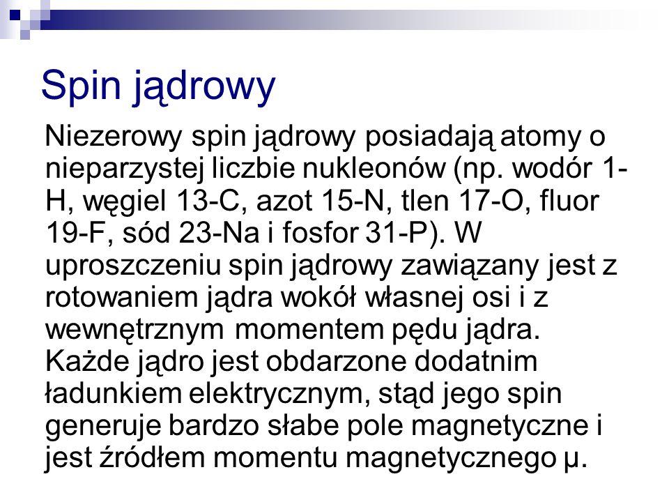 Spin jądrowy Niezerowy spin jądrowy posiadają atomy o nieparzystej liczbie nukleonów (np. wodór 1- H, węgiel 13-C, azot 15-N, tlen 17-O, fluor 19-F, s